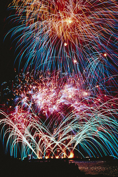 Multicoloured fireworks